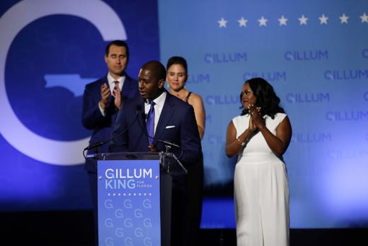 Andrew Gillum makes his concession speech in front of Lee Hall on the Florida A&M campus in Tallahassee, Fla. after losing the governor's race to Ron DeSantis Tuesday, Nov. 6, 2018. Tori Schneider/Tallahassee Democrat