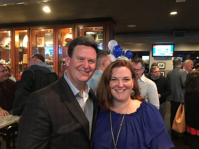 John Dailey and his wife celebrate Dailey win as next Mayor of Tallahassee.