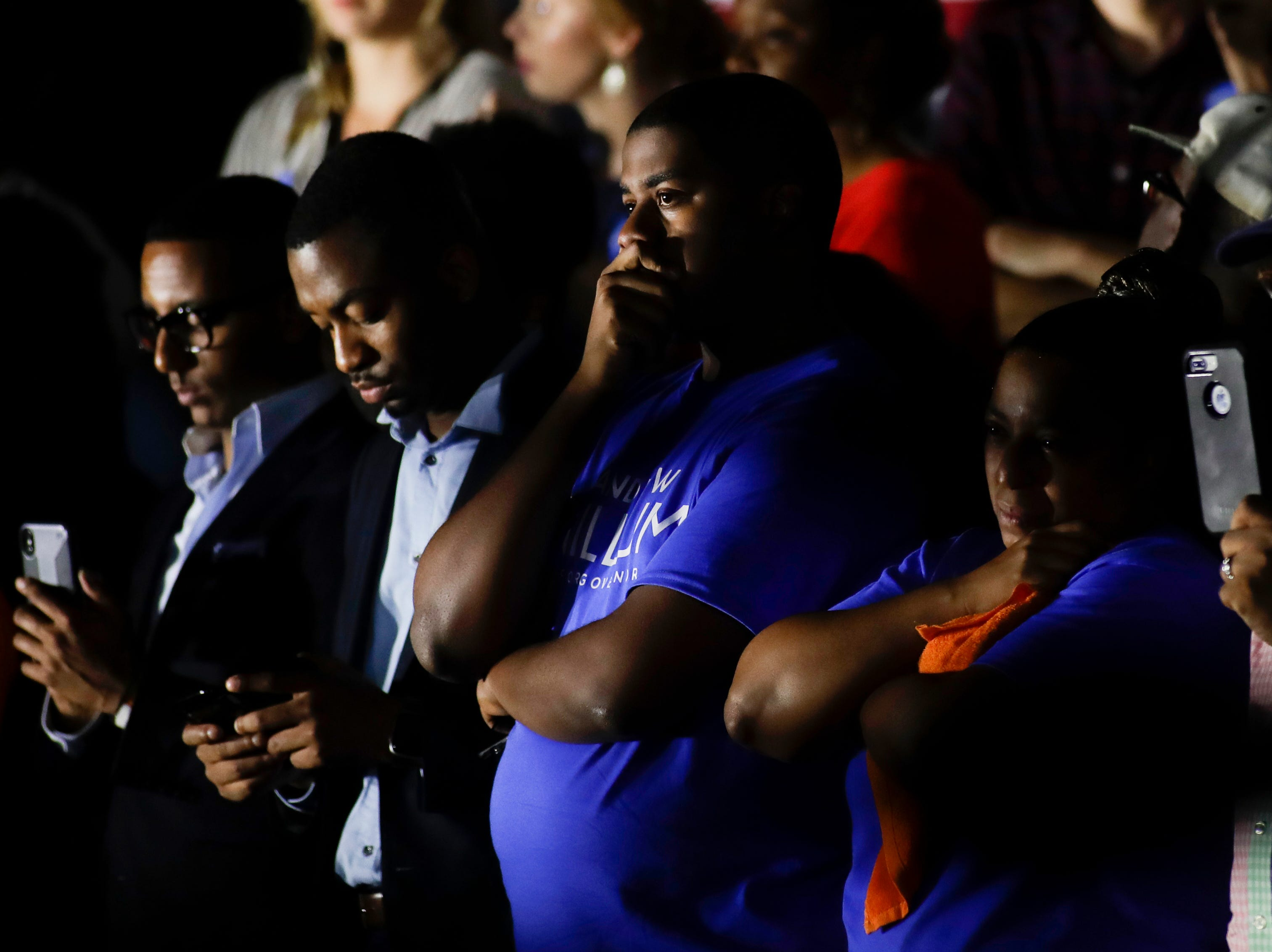 Brandon Johnson of Gainesville reacts as Andrew Gillum makes his concession speech in front of Lee Hall on the Florida A&M campus in Tallahassee, Fla. after losing the governor's race to Ron DeSantis Tuesday, Nov. 6, 2018.