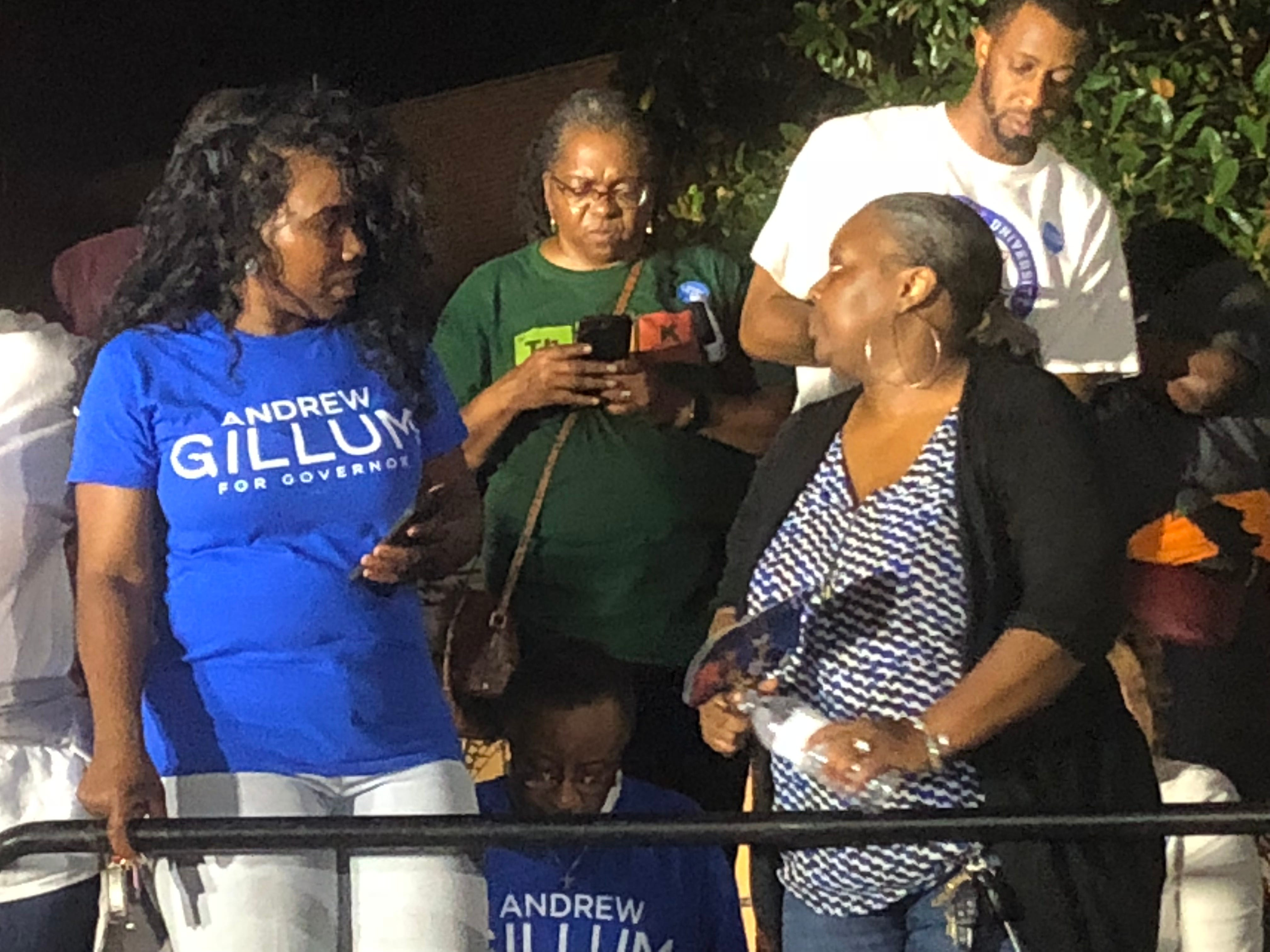 Supporters for Andrew Gillum wait for election results at his headquarters.
