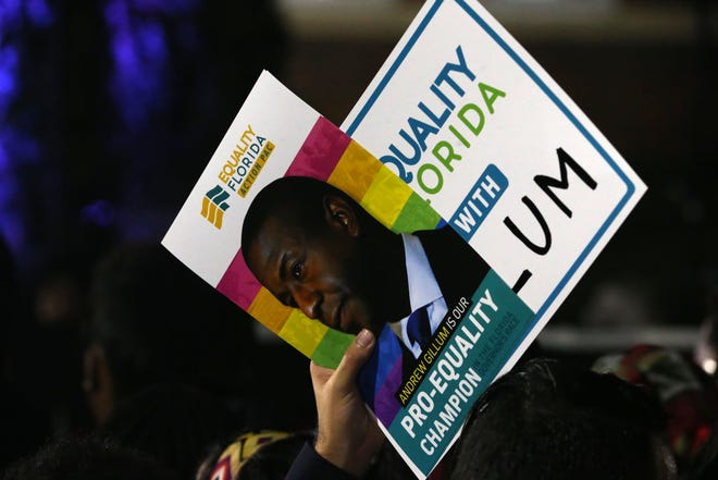 Supporters of Andrew Gillum flaunt their Gillum promotional items while at Gillum's watch party outside Lee Hall on the Florida A&M campus, on Election night, Tuesday, Nov. 6, 2018.
