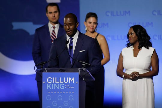 Andrew Gillum makes his concession speech in front of Lee Hall on the Florida A&M campus in Tallahassee, Fla. after losing the governor's race to Ron DeSantis Tuesday, Nov. 6, 2018.