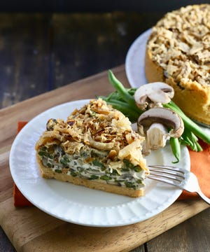 A slice of Green Bean Pie with Ritz Cracker Crust adds new flavor to Thanksgiving meal.