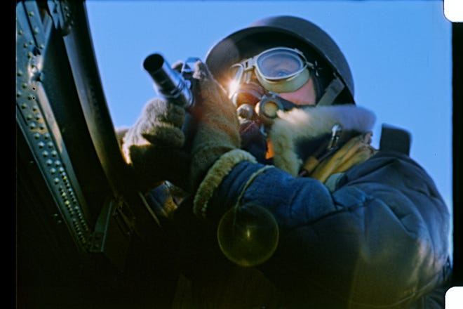 """A camera man shoots 16mm footage on a mission over Europe in 1943. A newly restored """"The Memphis Belle: A Story of a Flying Fortress"""" is being shown Friday at FSU."""