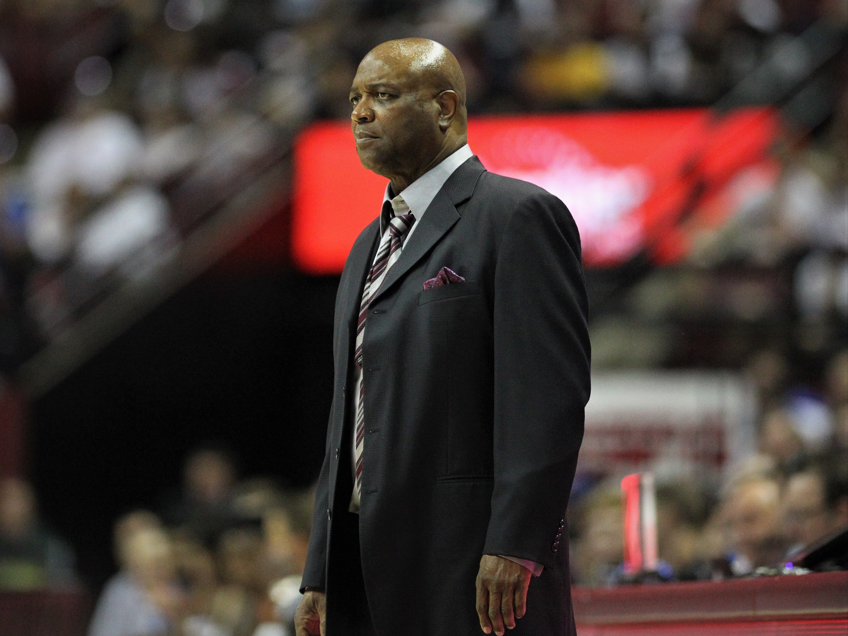 Florida State men's basketball head coach Leonard Hamilton watches his team during the Sunshine Showdown game against Florida on Tuesday at the Tucker Civic Center.