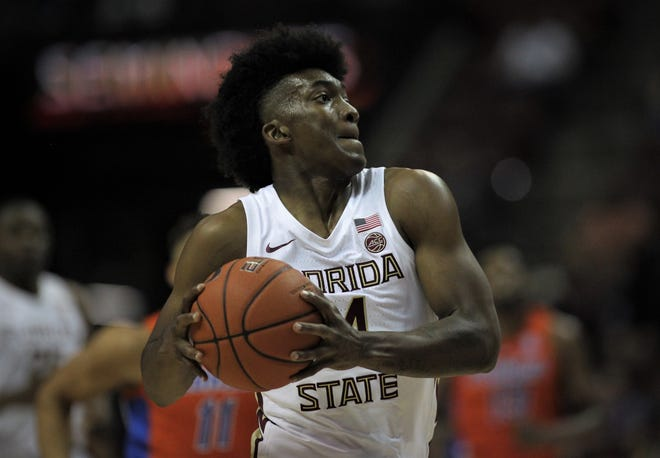 Florida State's Terance Mann drives to the basket against Florida during the Sunshine Showdown game Tuesday at the Tucker Civic Center.