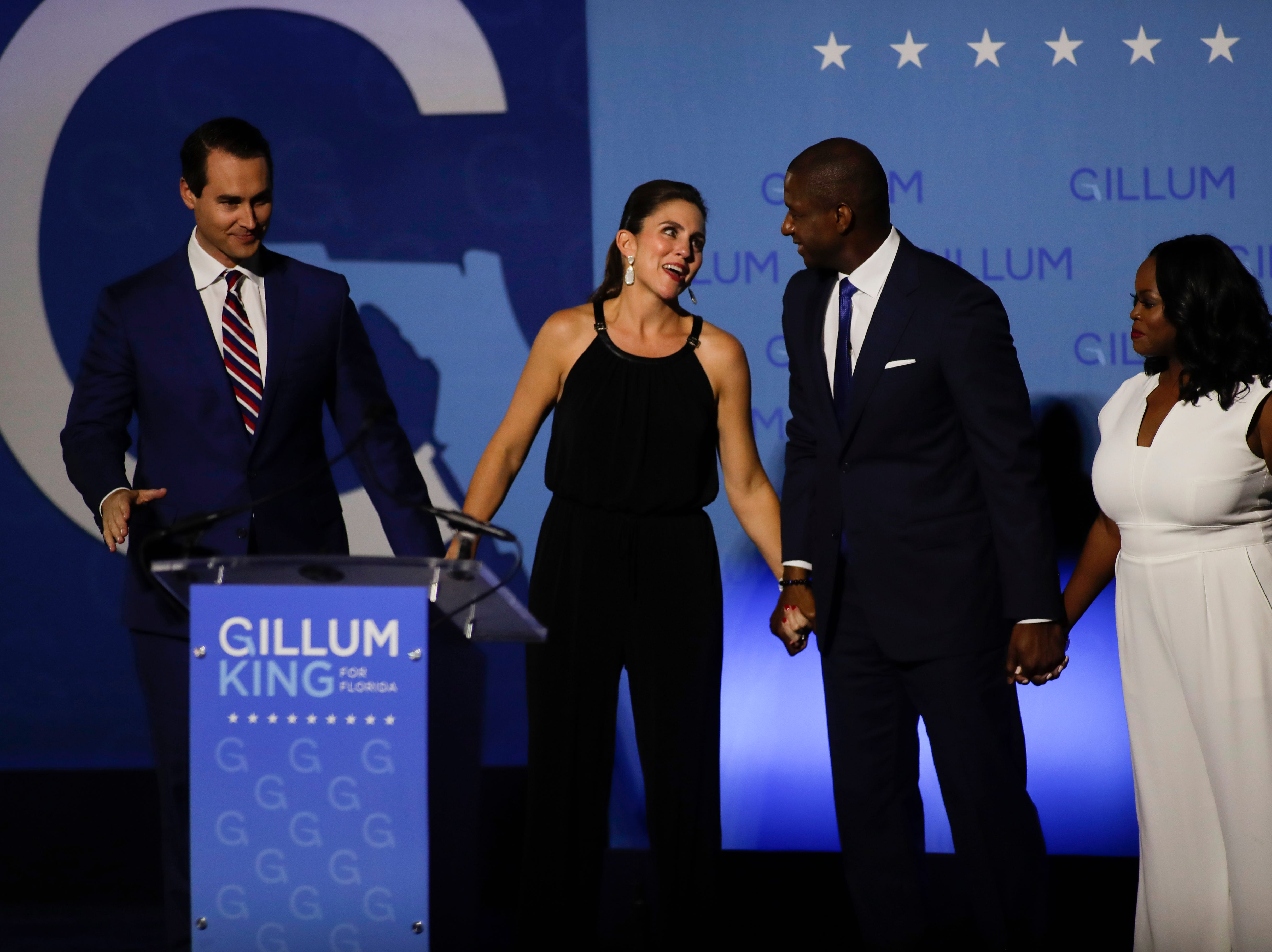 Chris King, Kristen King, Andrew Gillum and R. Jai Gillum appear on stage as Gillum makes his concession speech in front of Lee Hall on the Florida A&M campus in Tallahassee, Fla. after losing the governor's race to Ron DeSantis Tuesday, Nov. 6, 2018.