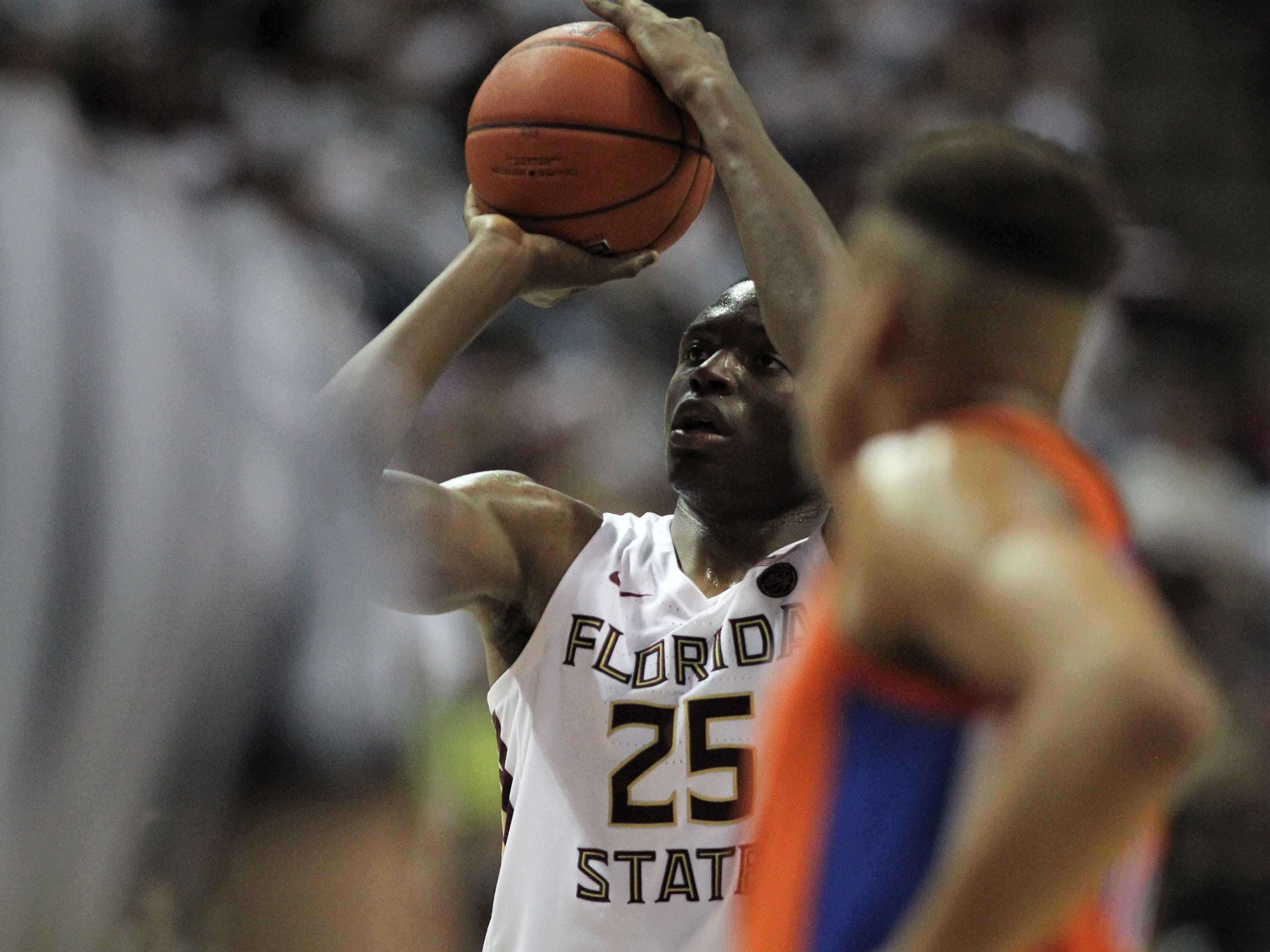 Florida State's Mfiondu Kabengele shoots a free throw during the Sunshine Showdown game against Florida on Tuesday at the Tucker Civic Center.