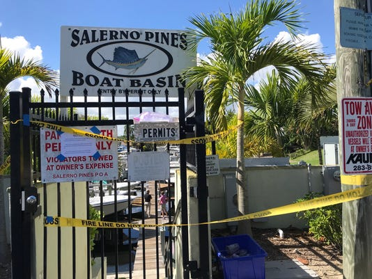 The outside of Salerno Pines Boat Basin where two boats caught on fire early Wednesday morning