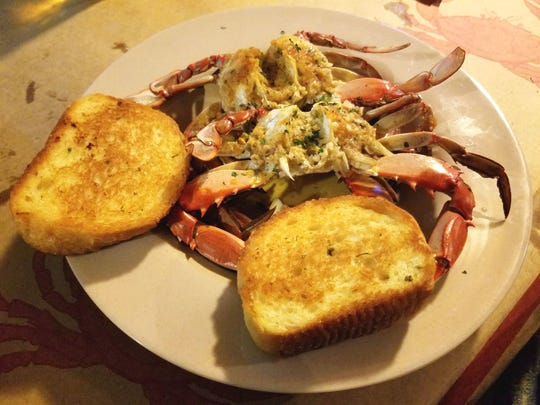 Gettin Crabby's Jersey style blue crabs steamed and doused in olive oil, garlic and butter.