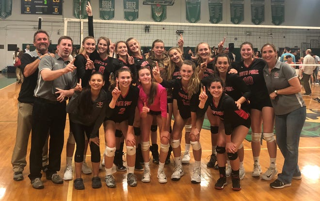 The South Fork High School volleyball team won the Region 4-7A championship Tuesday, Nov. 6, 2018 by defeating St. Brendan in straight sets in Miami. Team members include (front row, from left) Laura Romero, Katie Koedam, Sarah Andros, Angela Grieve, Gabby Montoya; (back row, from left) athletic director Ed Geiger, assistant coach Ron Jacobs, Tori Heine, Hailey Clarke, Olivia Armbruster, Elle McCreary, Aubrie Hataway, Marley Larson, Sarah D'Elia, Gracee Carpino, Skylyr Magliochetti and coach Cherse Wiggins.