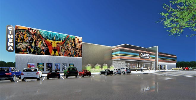 This is a rendering of the planned Alamo Drafthouse Cinema in the planned Monteverde mixed-used development at Pellicano Drive and Joe Battle Boulevard in East El Paso.