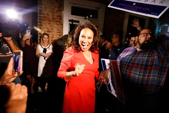 Veronica Escobar celebrates at her campaign party at Later Later in Downtown El Paso after having watched voting results come in at her Central El Paso home with her family. Election results confirmed voters would make her among the first Latinas from Texas in Congress.