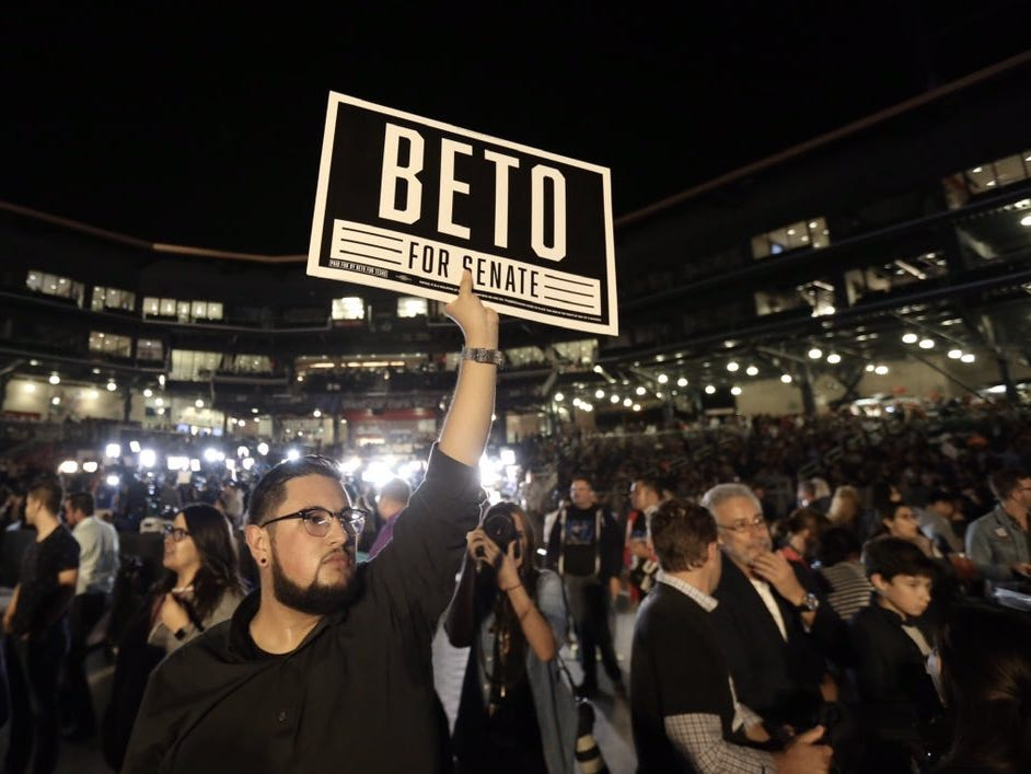 Crowds flowed into Beto O'Rourke's event at Southwest University Park in El Paso. The congressman celebrated his unsuccessful Senate run.