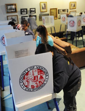 Voters cast their votes at Camarillo City Hall on Election Day.