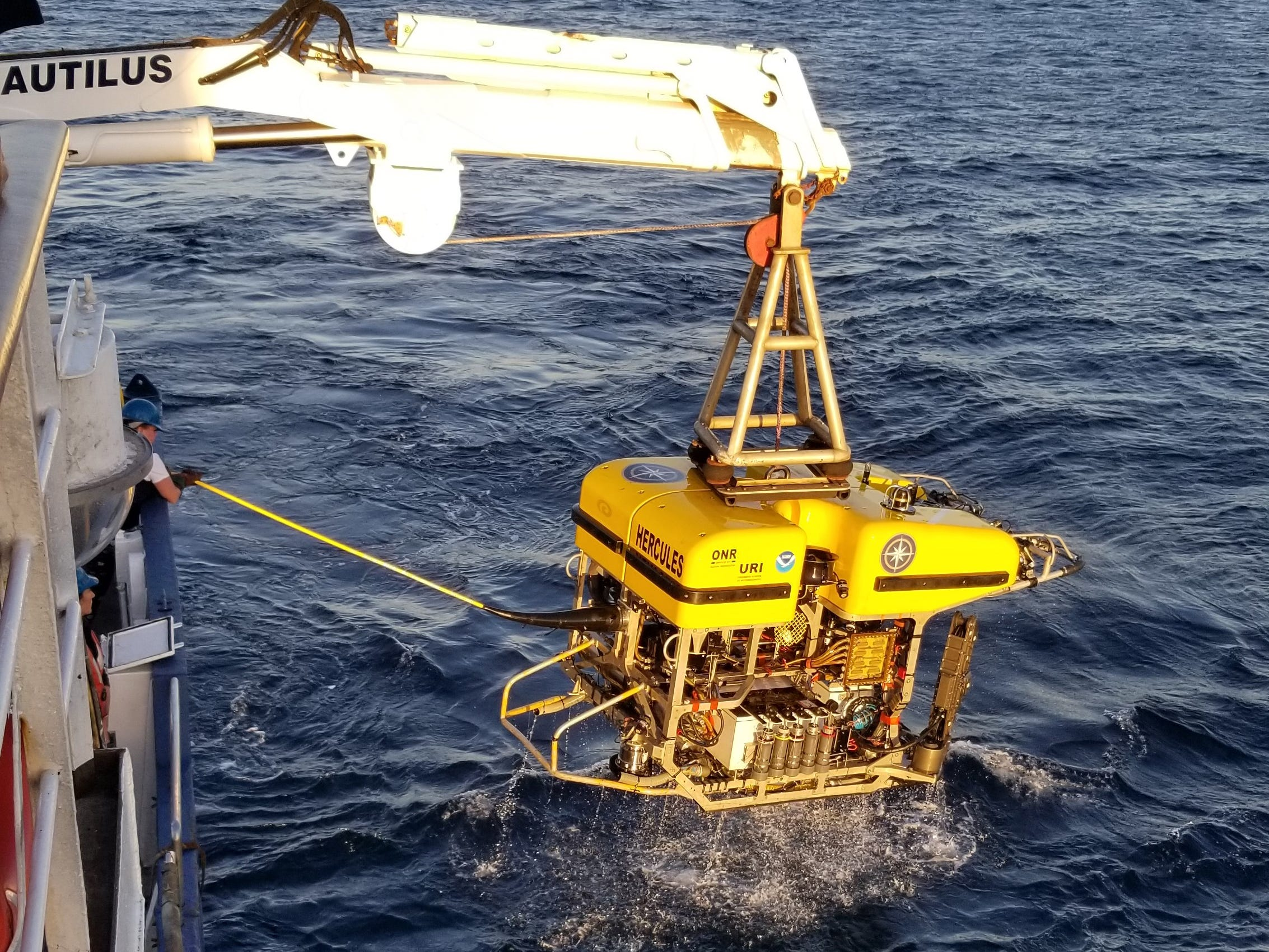 Hercules is recovered from the depths, completing the final dive of this Nautilus cruise.