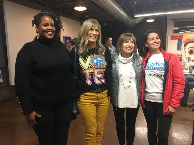 From left, Lorrie Brown, Christy Weir, Cheryl Heitmann and Sofia Rubalcava. Brown and Rubalcava, the top vote-getters in Districts 6 and 1, will join Weir and Heitmann on the Ventura City Council. When they are sworn in in early December, the council will be a majority female.