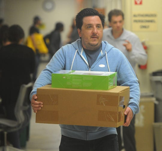 Darren Bulmer arrives with ballots at the elections division at the Ventura County Government Center in Ventura on election night.
