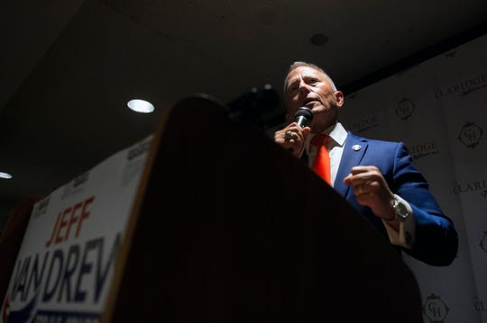 NJ Sen. Jeff Van Drew delivers a victory speech following a win Tuesday, Nov. 6, 2018 at The Claridge Hotel in Atlantic City, N.J.