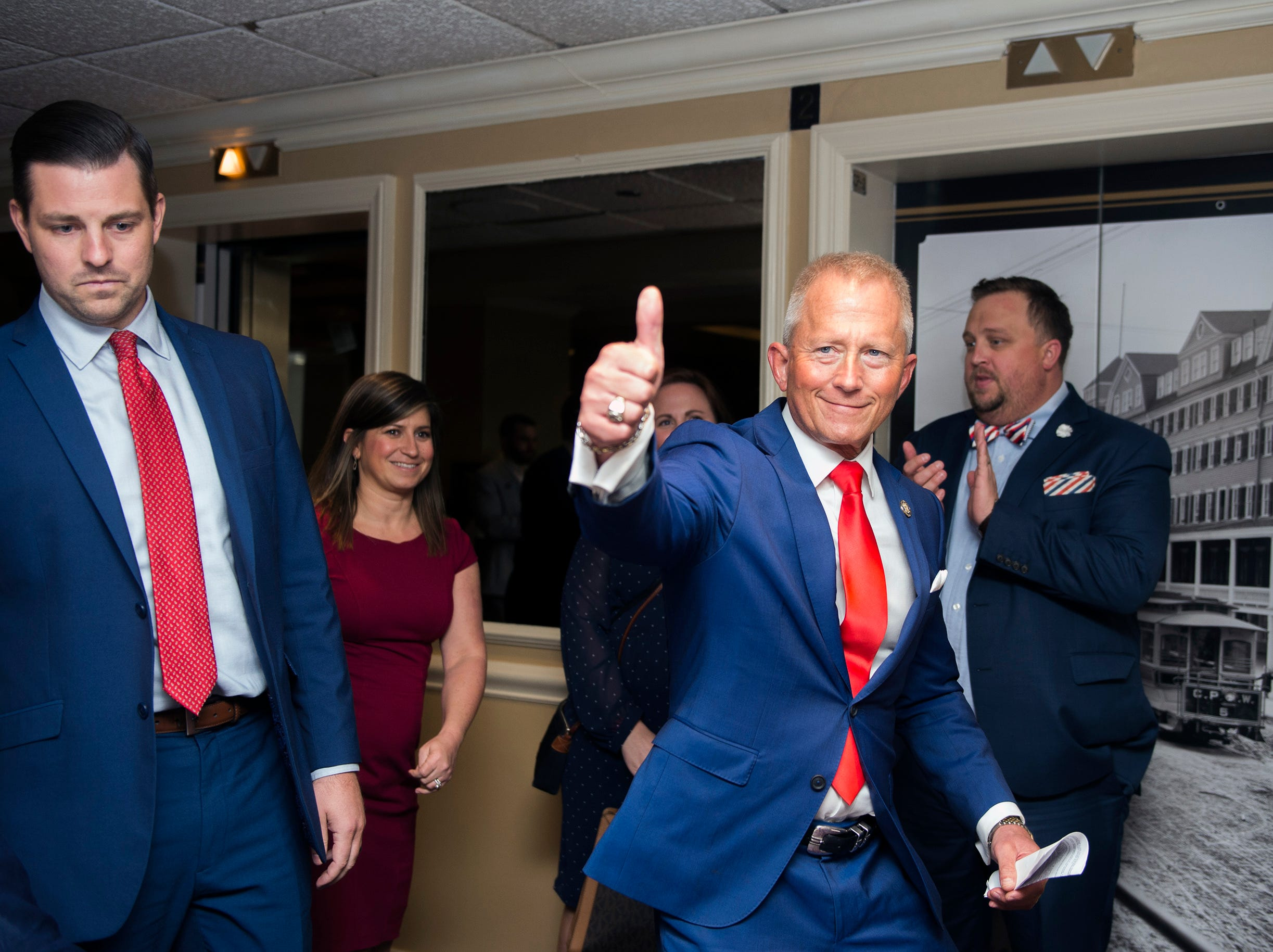 NJ Sen. Jeff Van Drew enters his election night headquarters following a victory Tuesday, Nov. 6, 2018 at The Claridge Hotel in Atlantic City, N.J.