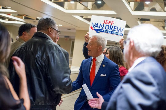 New Jersey state Sen. Jeff Van Drew is greeted by supporters after a victory in the race for Congress on Tuesday, Nov. 6, 2018, at The Claridge Hotel in Atlantic City, N.J.