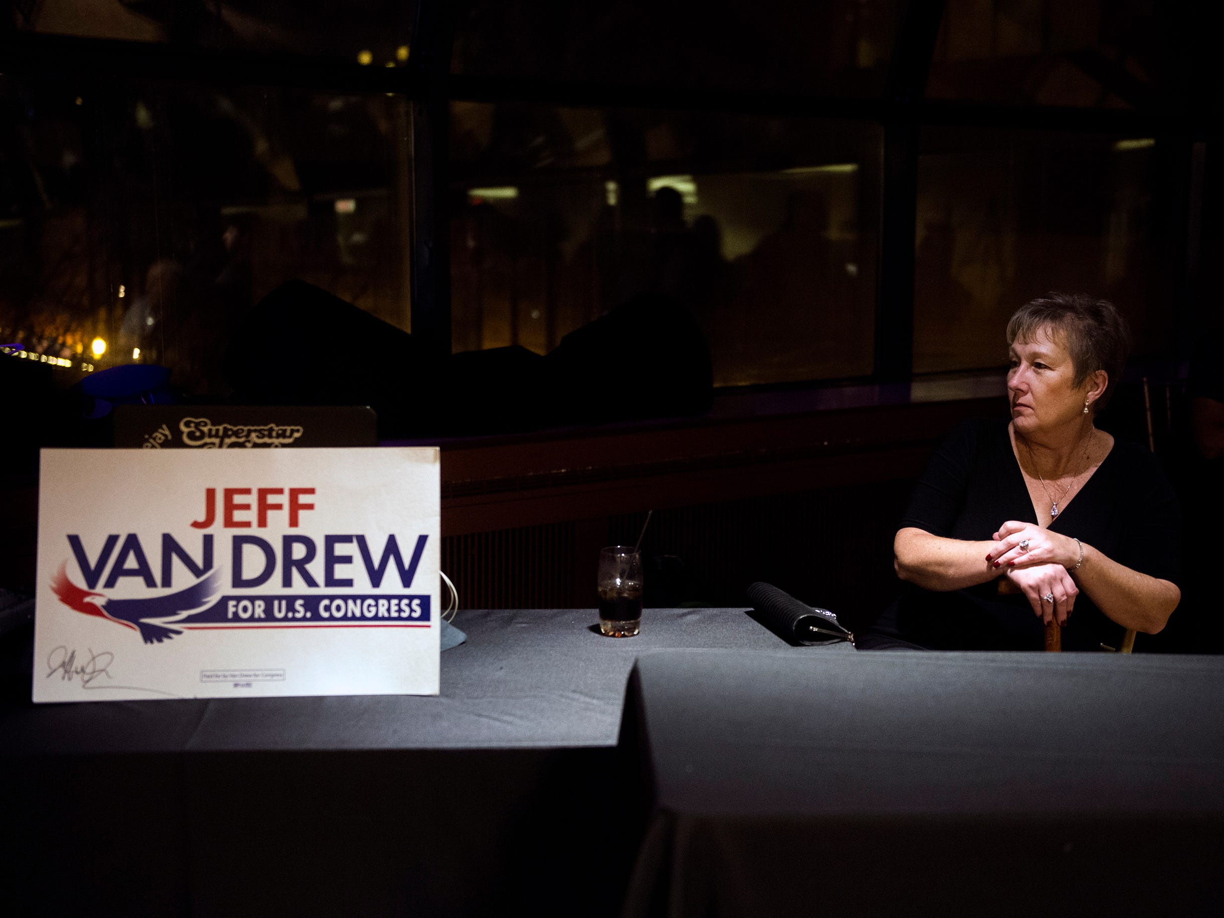 Maggie Povio, a supporter and neighbor of NJ Sen. Jeff Van Drew, looks on at his election night headquarters Tuesday, Nov. 6, 2018 at The Claridge Hotel in Atlantic City, N.J.