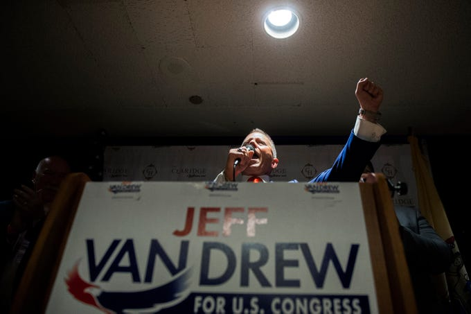 NJ Sen. Jeff Van Drew celebrates a victory at his election night headquarters Tuesday, Nov. 6, 2018 at The Claridge Hotel in Atlantic City, N.J.