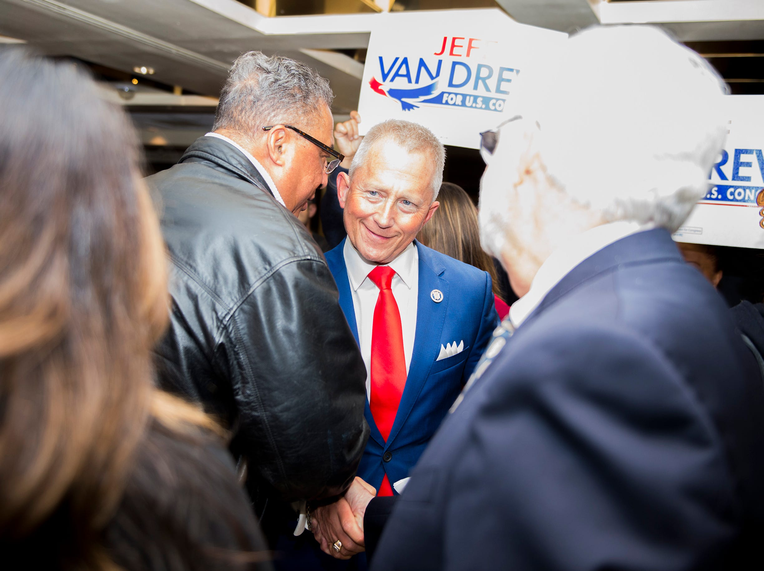 NJ Sen. Jeff Van Drew is greeted by supporters following a victory Tuesday, Nov. 6, 2018 at The Claridge Hotel in Atlantic City, N.J.