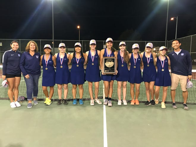 The Redwood High girls tennis team won it second straight Central Section Division II championship on Friday in the Valley final. The championship team, pictured, left to right: assistant coach Karah Gong, head coach Rosemarie Lewis, Claire Yang, Elizabeth Gormley, Candice Sung, Sophie Degn, Maddie Degn, Mattelyn Giannandrea, Maddie Adams, Karis Ramage, Helen Webb and assistant coach Matt Gong.