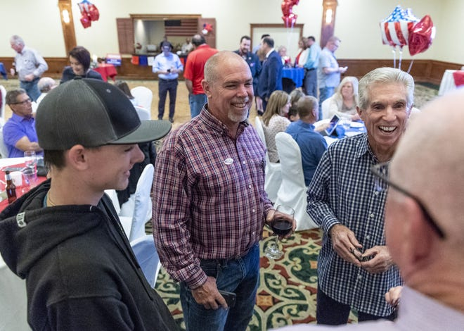 TCOE Superintendent candidate Tim Hire chats with supporters at the Wyndham Hotel in Visalia while waiting for election results during the 2018 Midterms on Tuesday, November 6, 2018.
