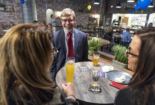 TCOE Superintendent candidate Craig Wheaton chats with supporters at the Planing Mill in Visalia while waiting for election results during the 2018 Midterms on Tuesday, November 6, 2018.