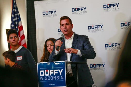 Congressman Sean Duffy(R) makes a speech after beat Margaret Engebretson for fifth term in Congress Tuesday, Nov. 7, 2018, at Hilton Garden Inn in Wausau, Wis. T'xer Zhon Kha/USA TODAY NETWORK-Wisconsin