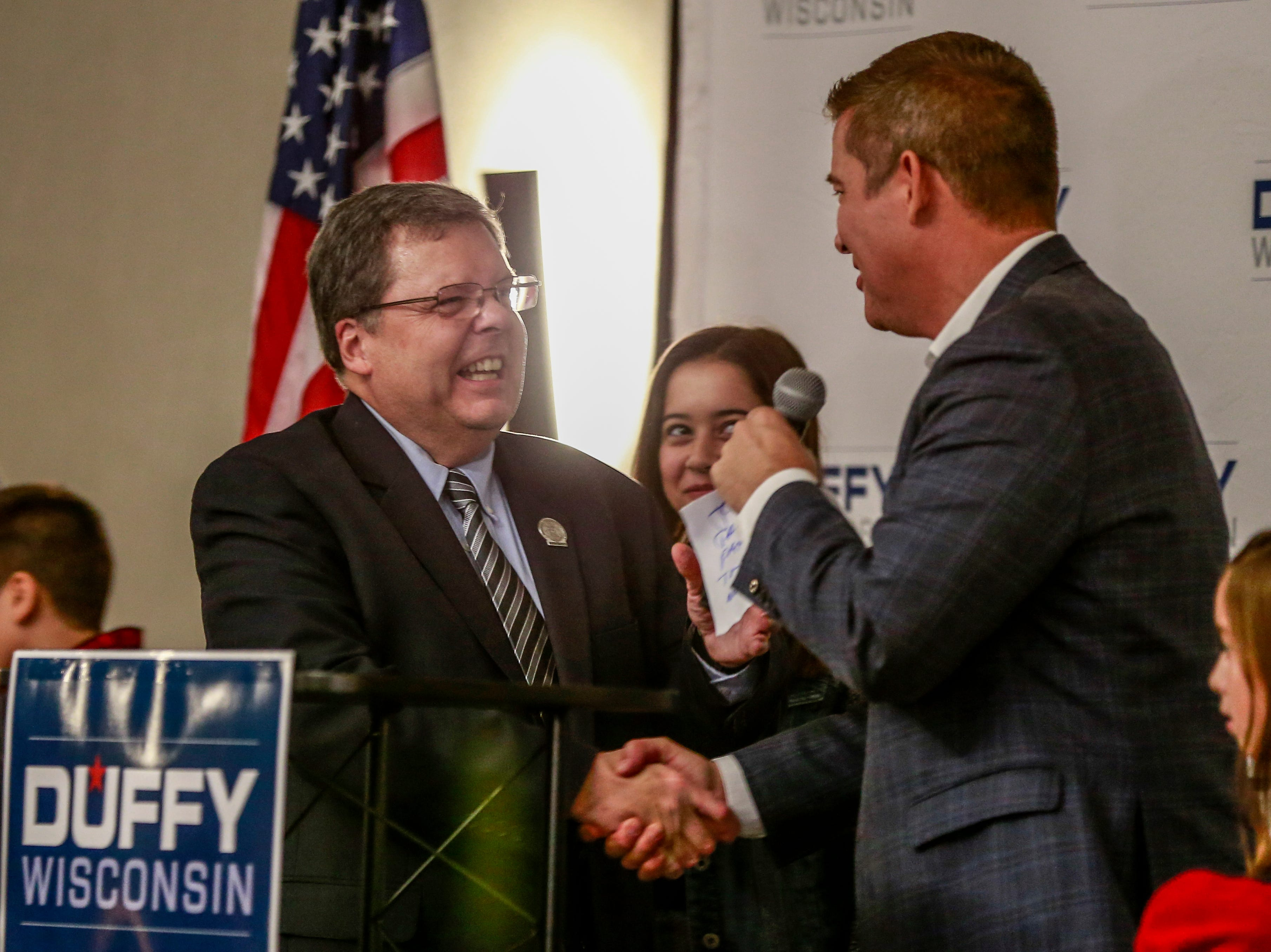 Republicans 85th Assembly District Patrick Snyder, left, and Congressman Sean Duffy celebrate as they maintain their seats in another term Tuesday, Nov. 7, 2018, at Hilton Garden Inn in Wausau, Wis. T'xer Zhon Kha/USA TODAY NETWORK-Wisconsin
