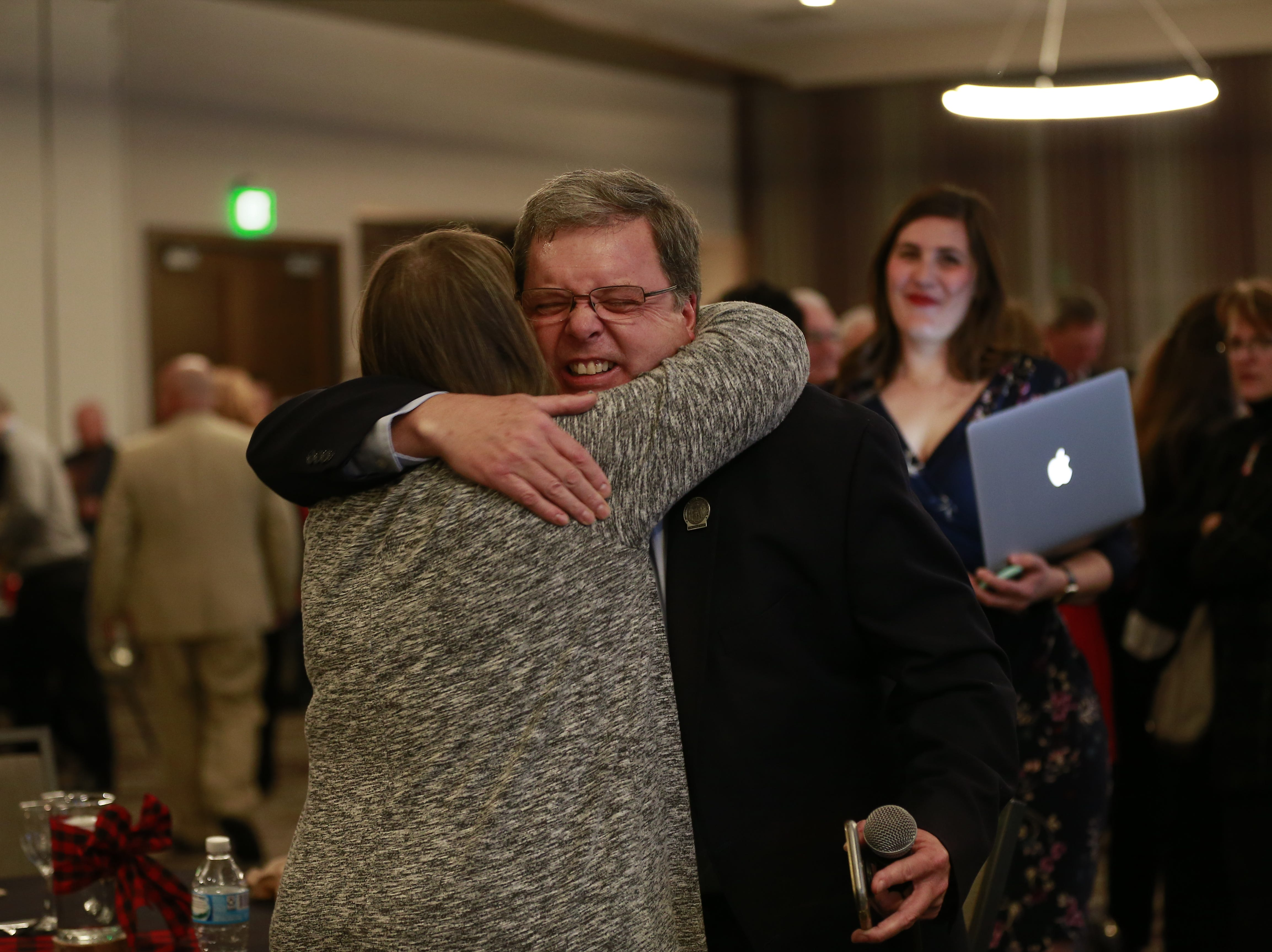 Republican Patrick Snyder receives a congratulatory hug from his wife Shawn for another term as the 85th Assembly District Tuesday, Nov. 7, 2018, at Hilton Garden Inn in Wausau, Wis. T'xer Zhon Kha/USA TODAY NETWORK-Wisconsin