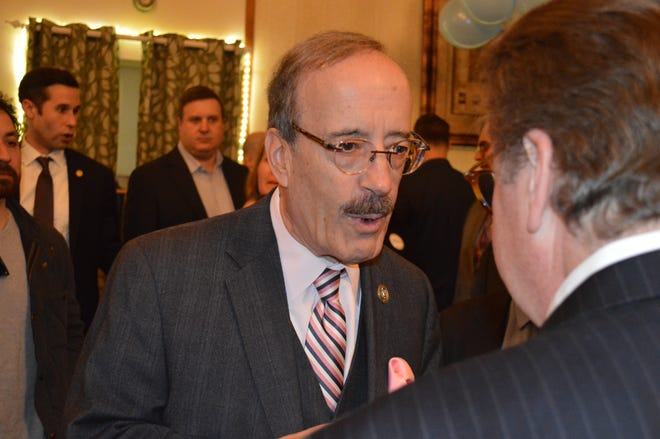U.S. Rep Eliot Engel speaks with New York State Senator Pete Harckham, at a 2018 event in Mount Kisco.
