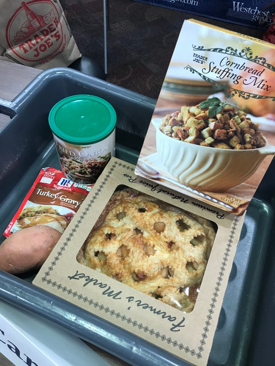 Some of the foods the TSA sees in carry-on bags include cornbread stuffing mix, pies, turkey gravy, yams and fried onions.