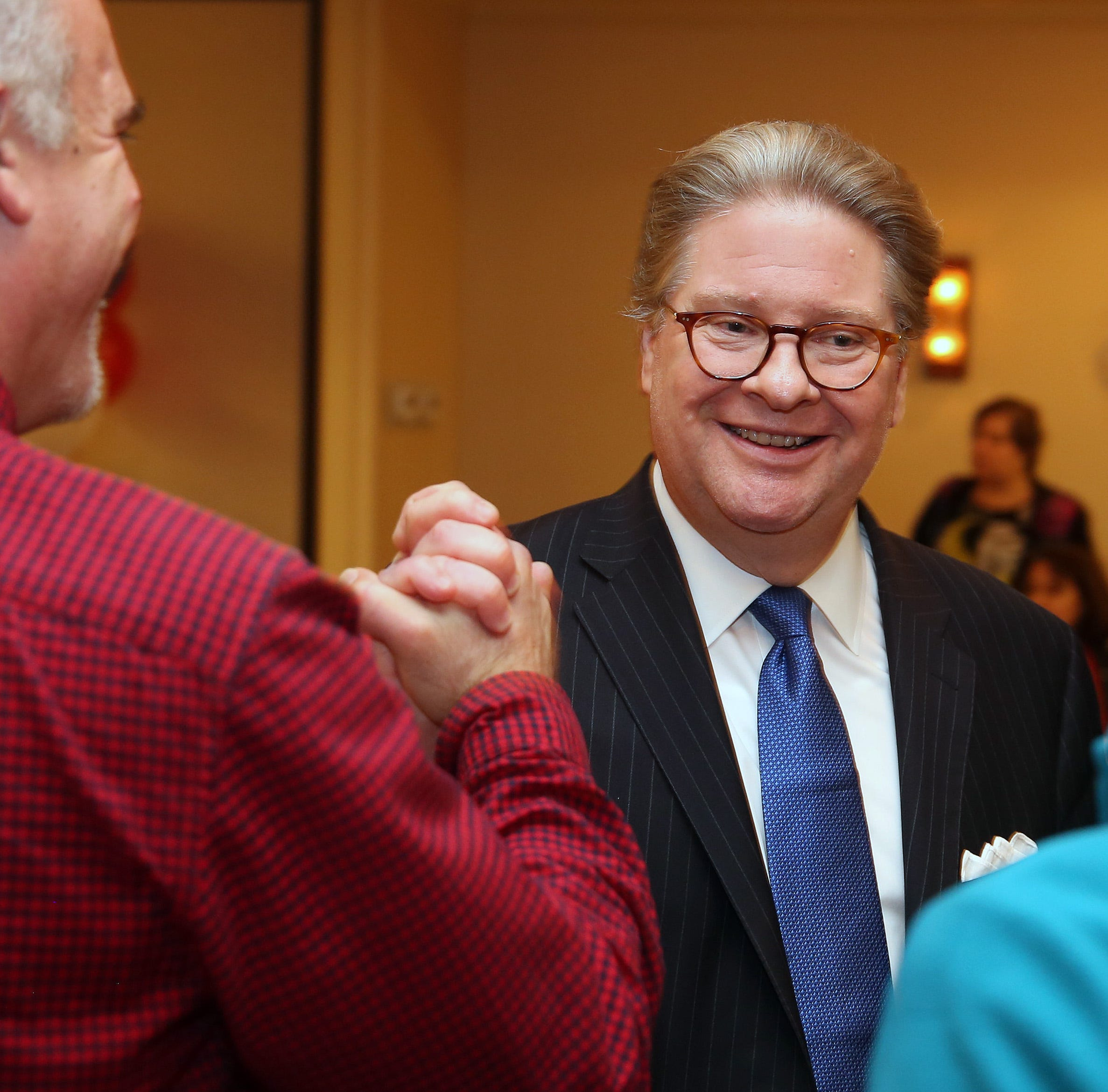 Pete Harckham is greeted by supporters after defeating SenatorTerrence Murphy in the state senate race at the Mount Kisco Holiday Inn Nov. 6,  2018.