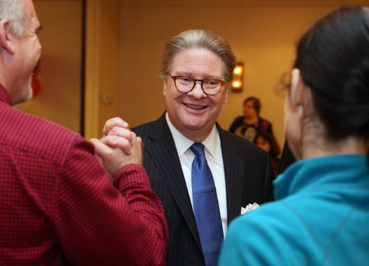 Pete Harckham is greeted by supporters  at the Mount Kisco Holiday Inn after defeating Sen. Terrence Murphy, Nov. 6, 2018.