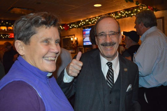 US Rep. Eliot Engel, D-Bronx, celebrating election night at the Indivisible Westchester party at Brazen Fox in White Plains.