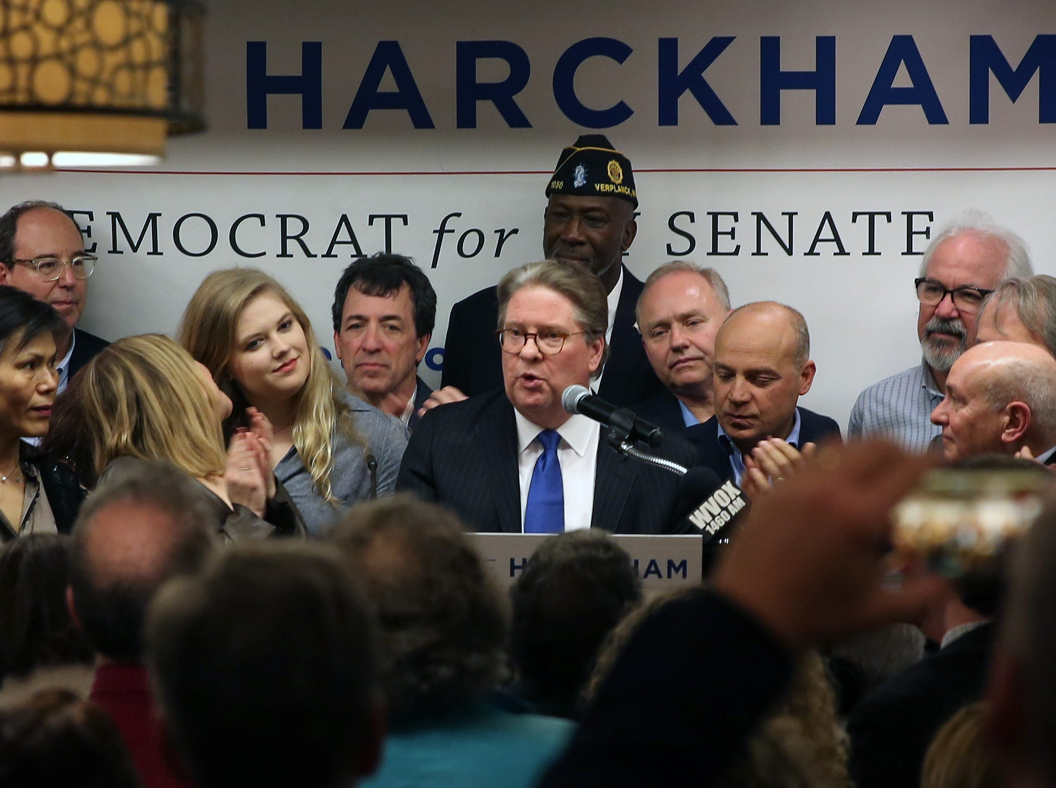 Pete Harckham speaks to his supporters after defeating SenatorTerrence Murphy in the state senate race at the Mount Kisco Holiday Inn Nov. 6,  2018.