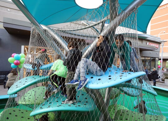 Children explore a new attraction called the Luckey Climber at the Cross County Shopping Center in Yonkers, after a ribbon cutting, Nov. 7, 2018.