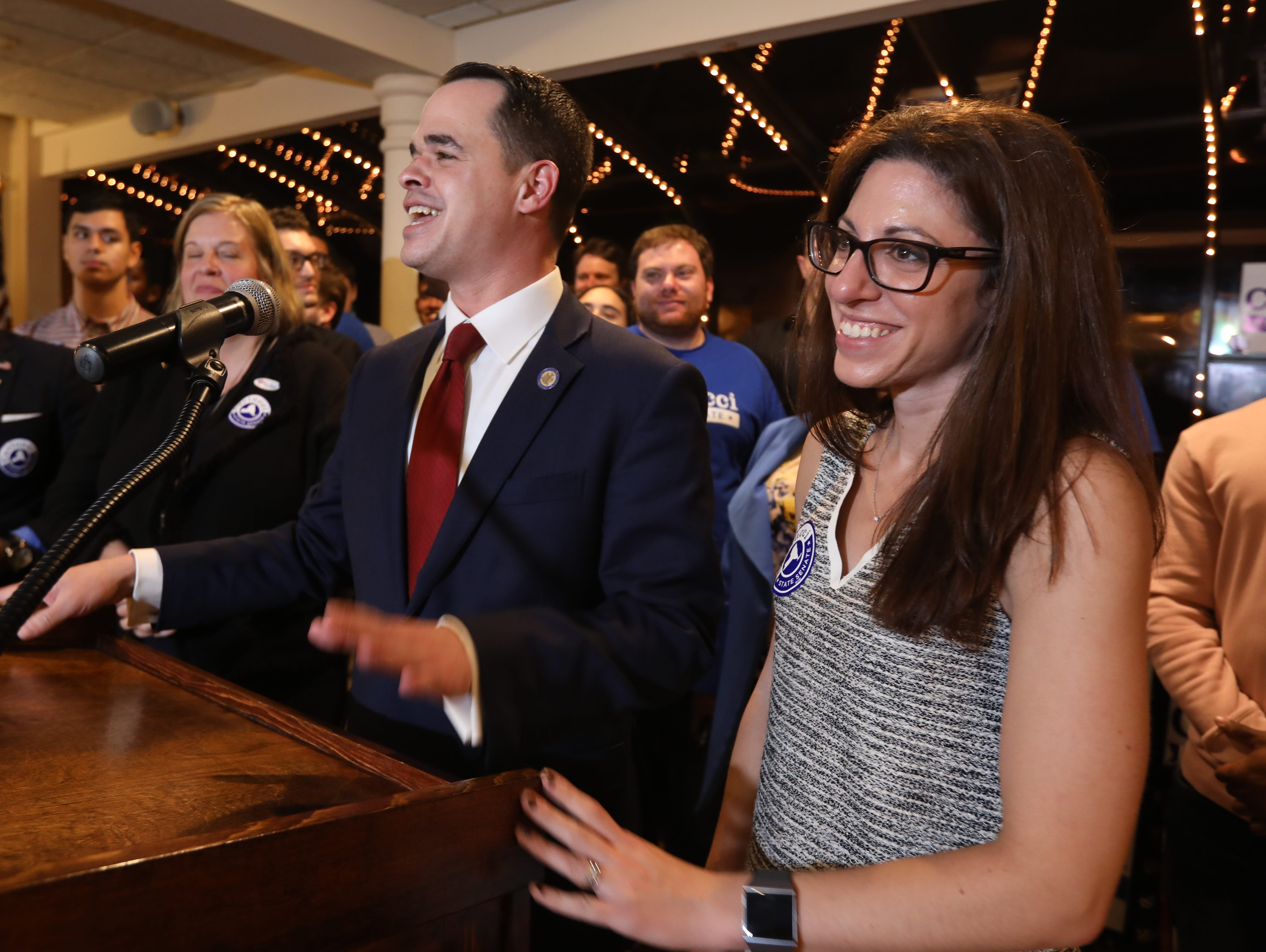State Sen. David Carlucci, with his wife Lauren, speaks after winning re-election at Casa Mia in Blauvelt Nov. 6, 2018.