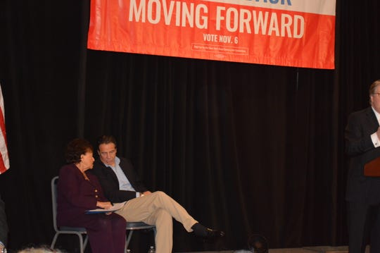 US Rep. Nita Lowey on stage with Gov. Andrew Cuomo at the American Legion hall in Mount Kisco on Nov. 4.