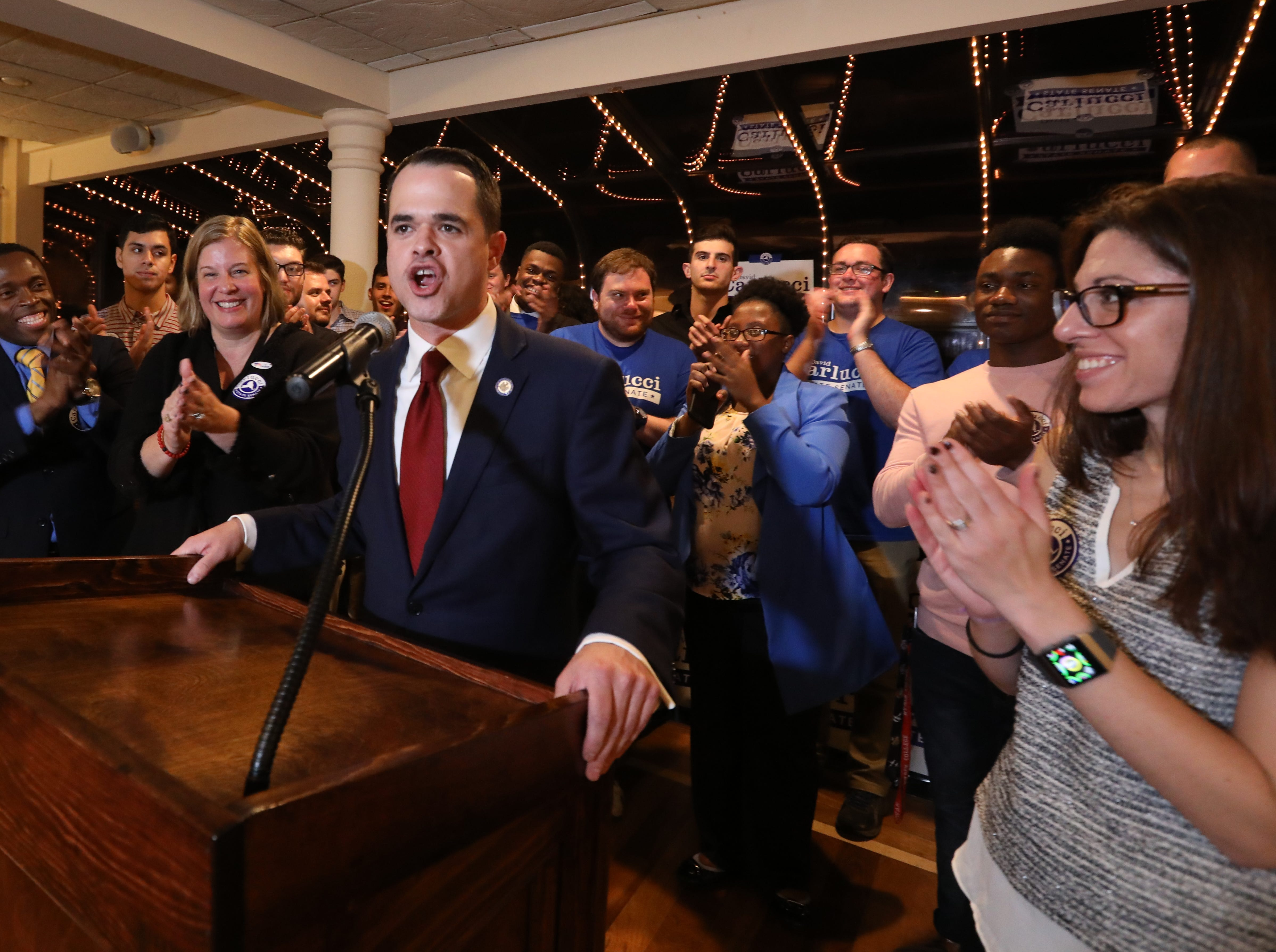 State Sen. David Carlucci speaks after winning re-election at Casa Mia in Blauvelt Nov. 6, 2018.