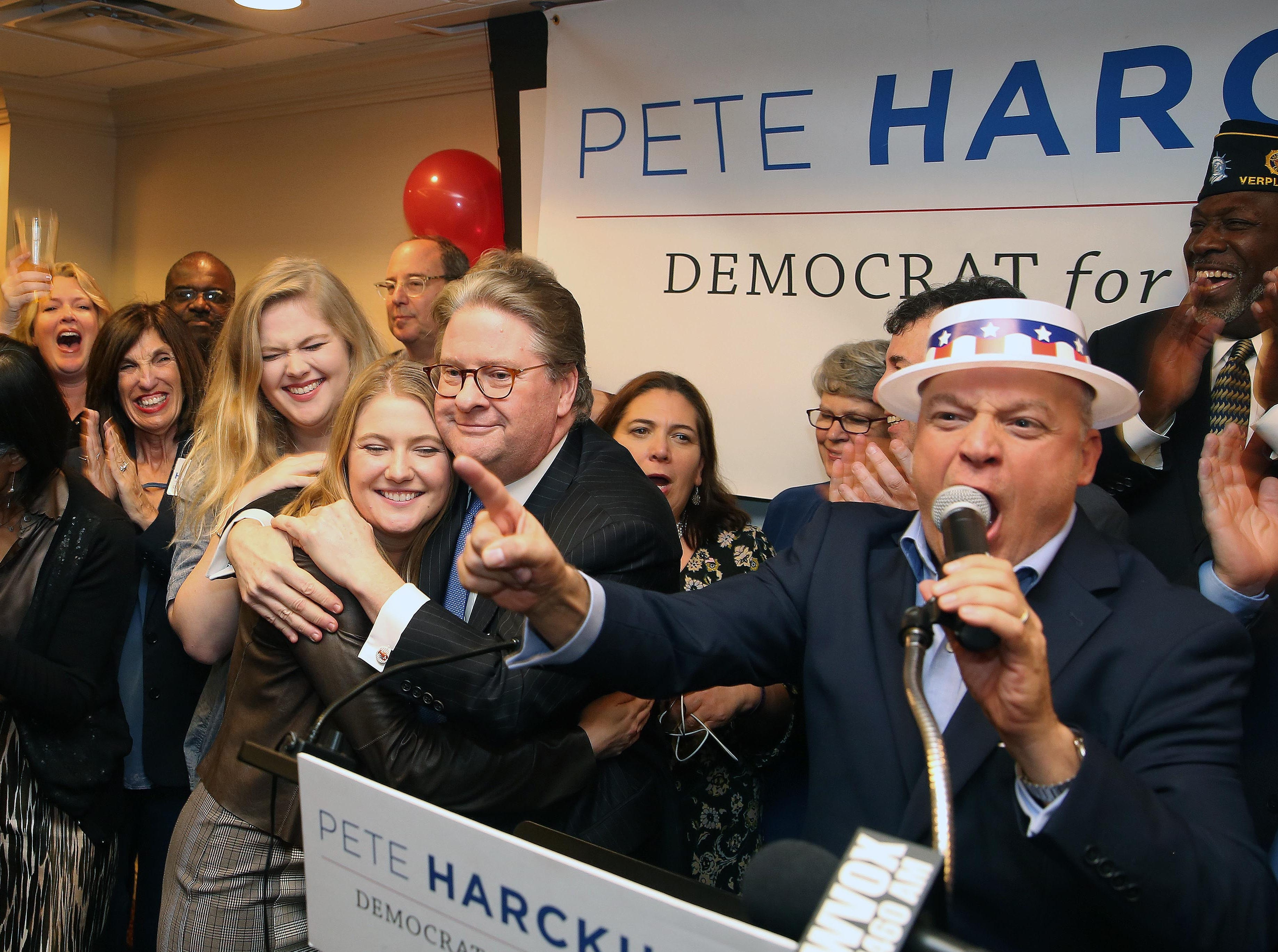 Pete Harckham hugs his daughter Kate as he is introduced as the next state senator after defeating SenatorTerrence Murphy in the state senate race at the Mount Kisco Holiday Inn Nov. 6,  2018.