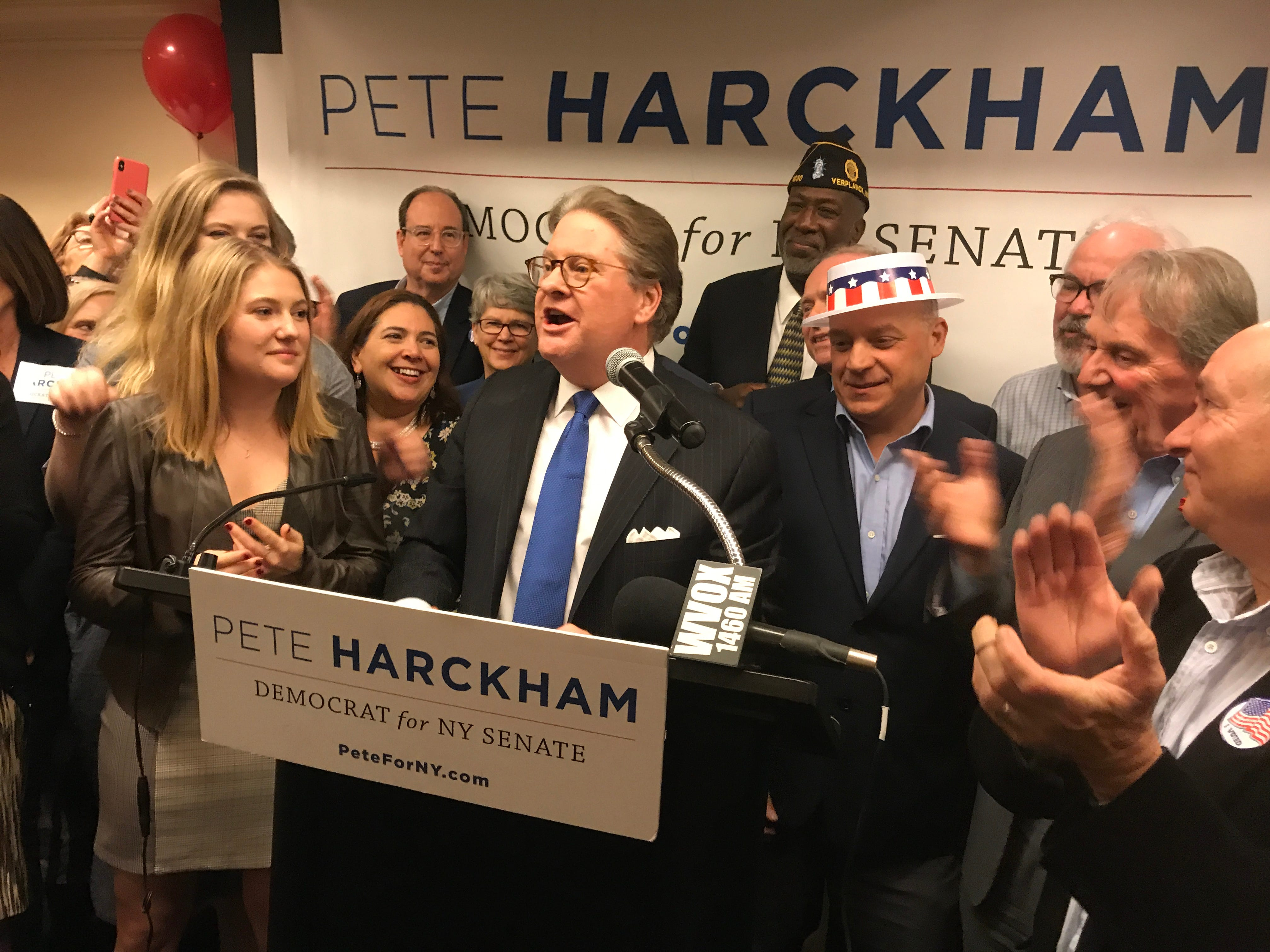 Pete Harckham gives his victory speech the Mountt Kisco Holiday Inn.