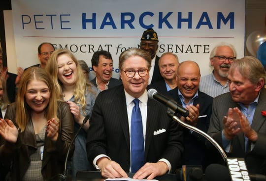 Pete Harckham gives his victory speech after defeating SenatorTerrence Murphy in the state senate race at the Mount Kisco Holiday Inn Nov. 6,  2018.