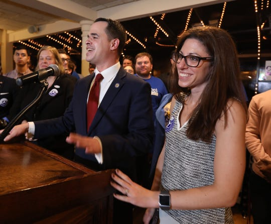 State Sen. David Carlucci, with his wife, Lauren, speaks after winning re-election at Casa Mia in Blauvelt Nov. 6, 2018.