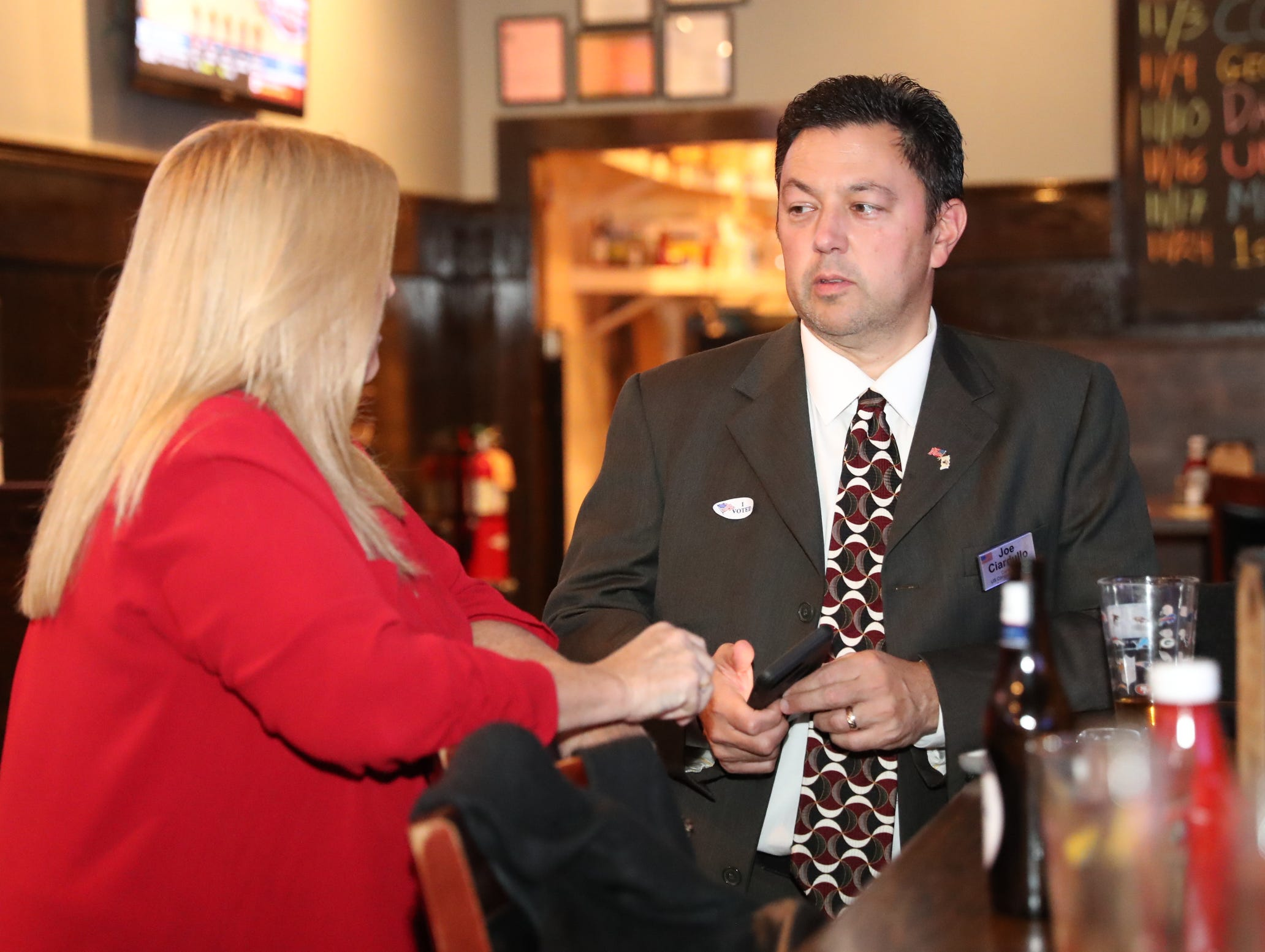 Joe Ciardullo, right, candidate for NY's 17th Congresional District at the Rockland Republican Commitee's election night gathering at Foggy Bottom Tavern in New City on Tuesday, November 6, 2018.