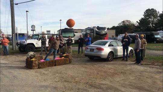 A Pumpkin' Chuckin' competitor tosses a pumpkin at Big Chill Surf Cantina last year.